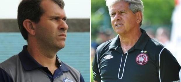 Cláudio Tencati e Arthur Bernardes, técnicos de Londrina e Atlético-PR (Foto: Sites oficiais de Londrina e Atlético-PR/Divulgação)