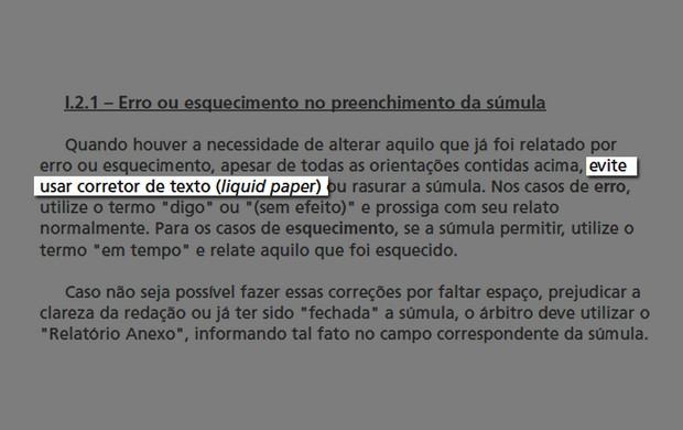 artigo I.21 - Erro ou esquecimento no preenchimento da súmula (pg.7) (Foto: Divulgação / CBF.com)