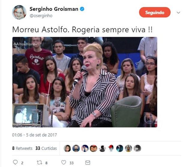 Serginho Groisman lamenta morte de Rogéria (Foto: Reprodução/Twitter)