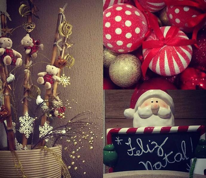 Bambu em um vaso inutilizado, bolas viram centro de mesa e o Papai Noel sempre presente (Foto: Divulgação)