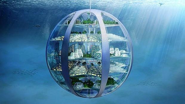 Para especialistas, o fundo dos oceanos será um bom lugar para construir 'cidades-bolhas' (Foto: Samsung)