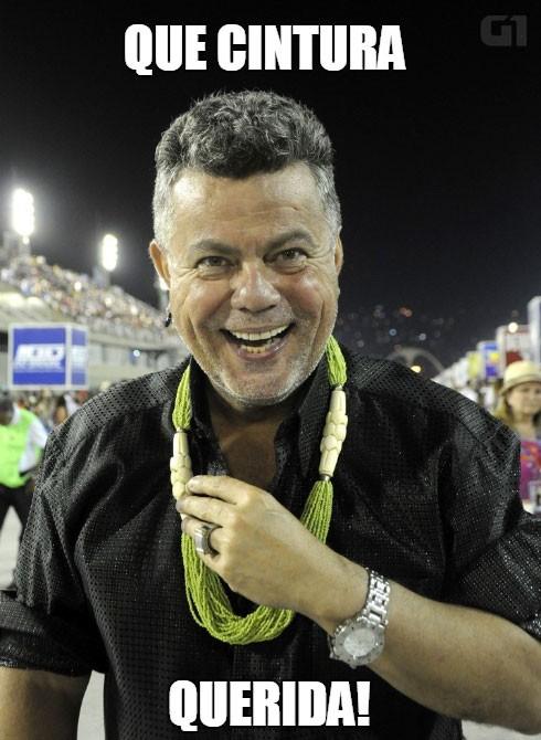Milton elogia a boa forma das passistas no desfile da Mangueira (Foto: Valéria del Cueto/Divulgação)