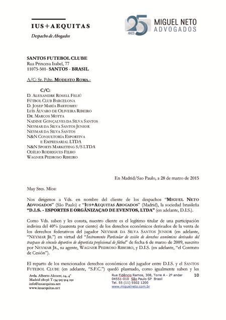 Documento - DIS x Neymar (Foto: Reprodução)