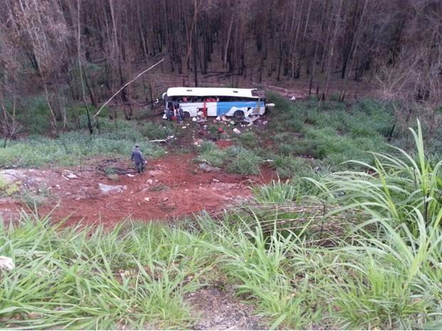 Ônibus cai em ribanceira em Bela Vista de Minas (Foto: Polícia Rodoviária Federal/Divulgação)