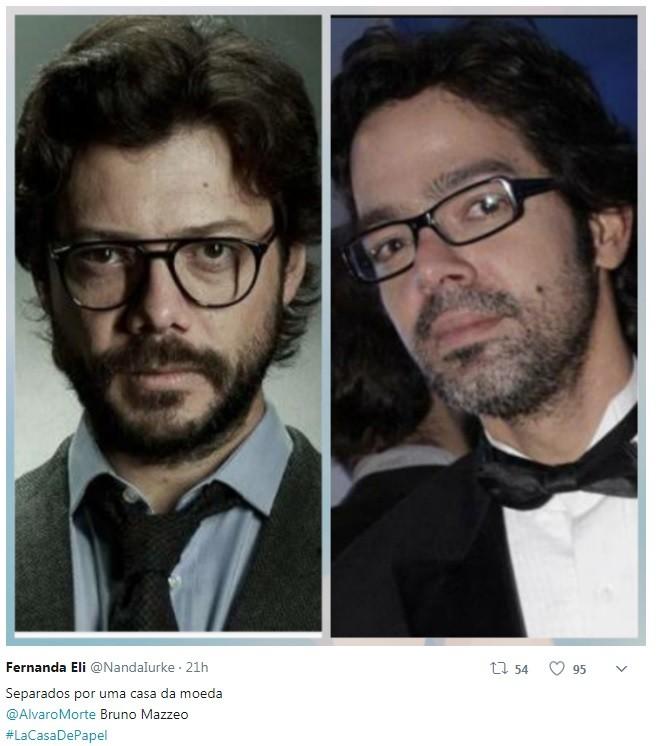 Internauta compara Bruno Mazzeo com personagem professor de 'La Casa de Papel' (Foto: Reprodução / Twitter)