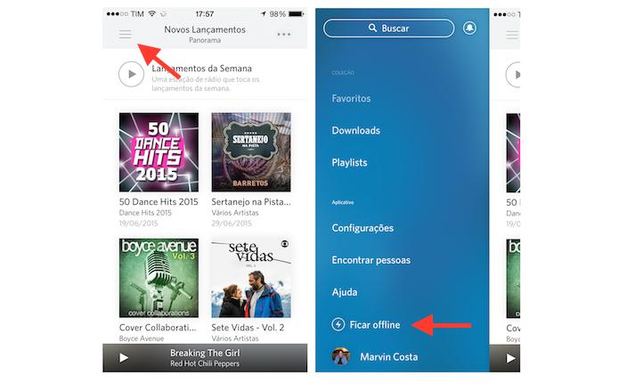 Ativando o modo offline do Rdio para iPhone (Foto: Reprodução/Marvin Costa)