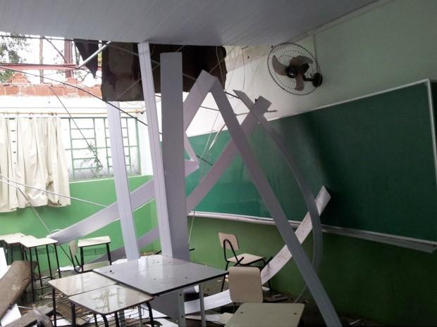 Alunos tiveram aulas suspensas após vendaval destruir telhado de escola em Ribeirão Corrente (Foto: Divulgação)