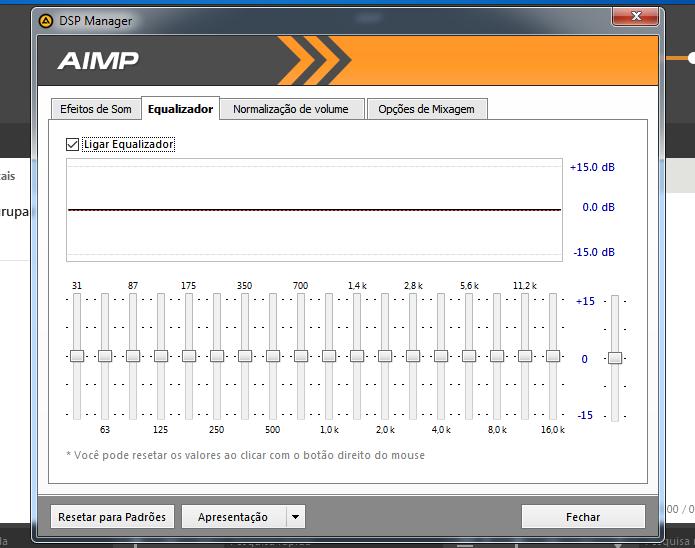 Usando o equalizador do AIMP (Foto: Reprodução/Helito Bijora)
