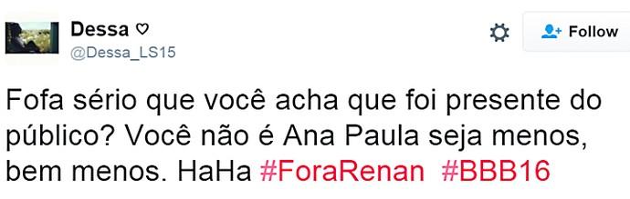 Renan iludido presente - domingo dia13 twitter (Foto: TV Globo)