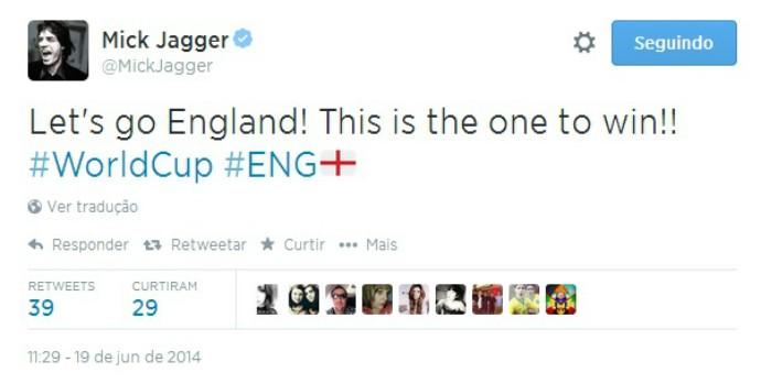 Mick Jagger torce pela Inglaterra contra o Uruguai
