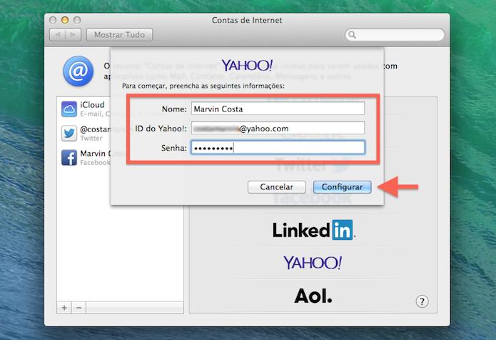 Vinculando uma conta do Yahoo! ao Mac OS X (Foto: Reprodução/Marvin Costa)