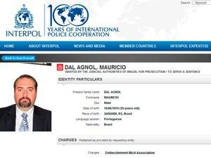 Dal Agnol entrou na lista de procurados pela Interpol (Foto: Reprodução/Interpol)