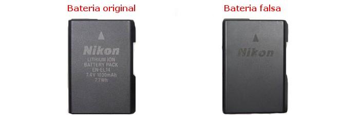 Comparação entre baterias EN-EL14 verdadeira e falsa (Foto: Divulgação/Nikon)