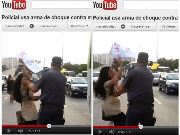 Vídeo mostra o PM dando choque, sem que a estudante reaja ou apresente resistência (Foto: Reprodução / YouTube)