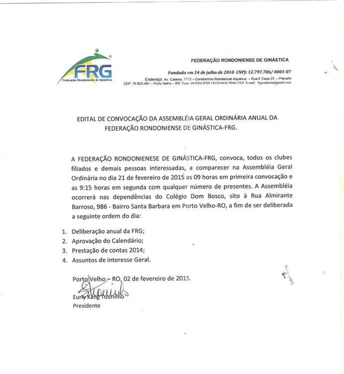 Convocação da federação para assembleia geral (Foto: Divulgação/ Federação Rondoniense de Ginástica)