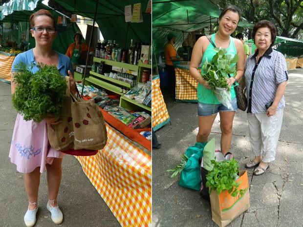 A cozinheira Bia Goll e a empresária Helena Tinoco com a mãe, Lin Ming, frequentam e feira de produtos orgânicos (Foto: Gabriela Gasparin/G1)