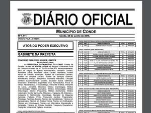 Resultado final e homologação foi divulgado no Diário Oficial do município (Foto: Reprodução/Prefeitura Municipal do Conde)