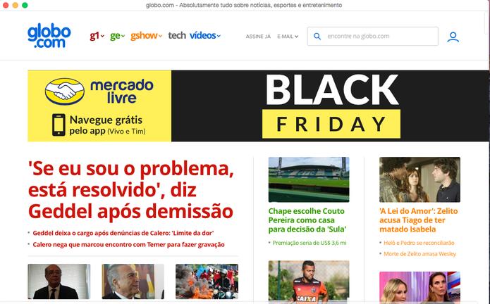 Site aberto no Colibri, navegador sem abas (Foto: Reprodução/Felipe Vinha)