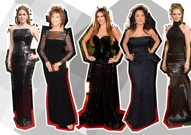 Preto + brilho: Jessica Chastain, Jane Fonda, Sofia Vergara, Salma Hayek e Uma Thurman (Foto: Getty Images)