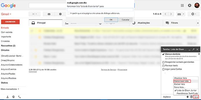 Usuário pode renomear listas de tarefas do Gmail a qualquer momento (Foto: Reprdução/Elson de Souza)