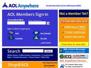 Página inicial da America Online em 2001 (Foto: Reprodução/Wayback Machine)