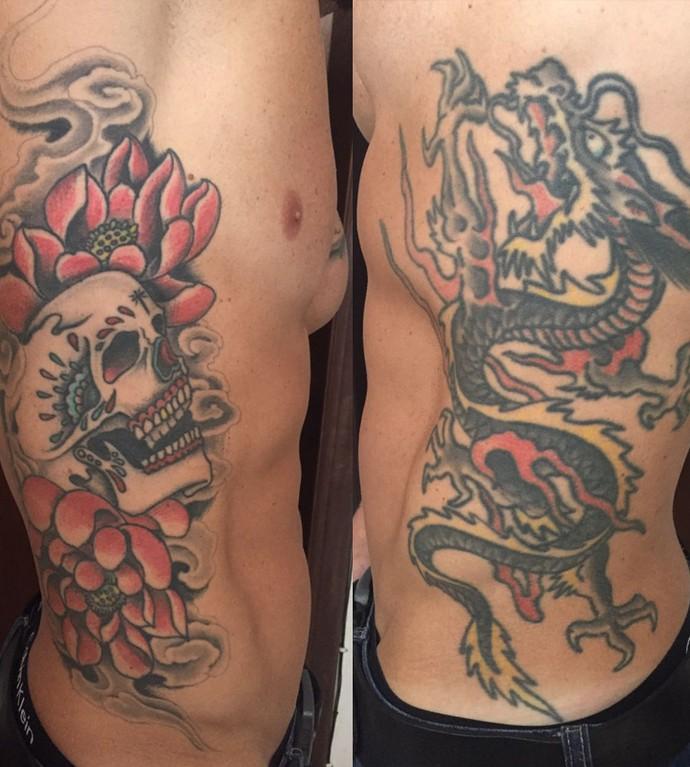 Dragão e caveira são apenas algumas das diversas tatuagens de Cristiano Naya. (Foto: Arquivo Pessoal)