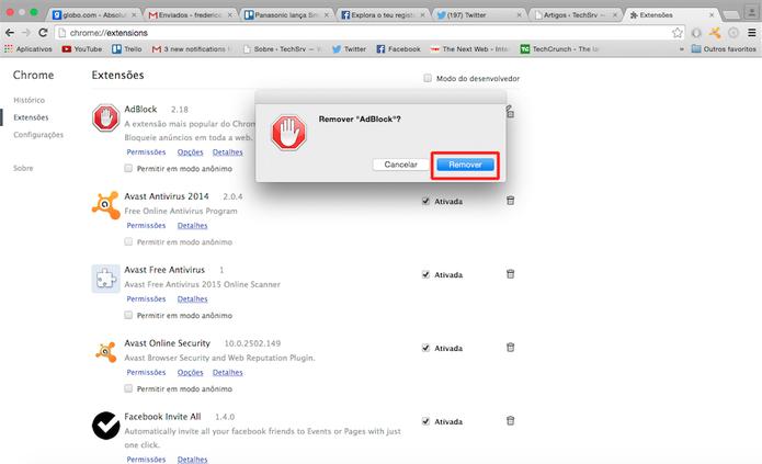 Clique em Remover para excluir qualquer extensão instalada no Chrome (Foto: Reprodução)