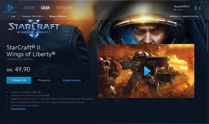 Clique em compre já para adquirir o StarCraft 2 (Foto: Reprodução/Murilo Molina)