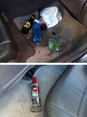Garrafas de bebidas alcoólicas foram encontradas dentro do Honda (Foto: Alana Cruz)