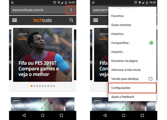 Acesse as configurações do Chrome no Android (Foto: Reprodução/Paulo Alves)