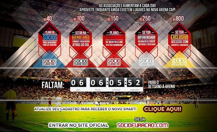 Atlético-PR faz contagem regressiva para volta à Arena da Baixada (Foto: Site oficial do Atlético-PR/Reprodução)