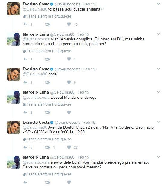 Seguidor pede gravata a Evaristo Costa (Foto: Twitter / Reprodução)