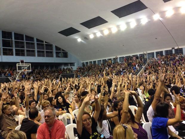 Professores da rede municipal decidem pelo fim da greve  (Foto: Káthia Mello/G1)