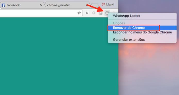 Opção para remover o WhatsApp Locker do Google Chrome (Foto: Reprodução/Marvin Costa)