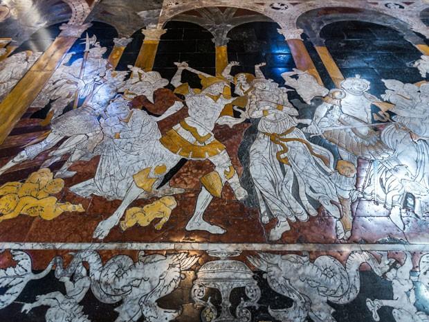 Piso de mármore da Catedral de Siena, na Itália (Foto: Giuseppe Masci / TIPS / Photononstop/ AFP)