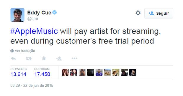 Eddy Cue no Twitter (Foto: Reprodução)