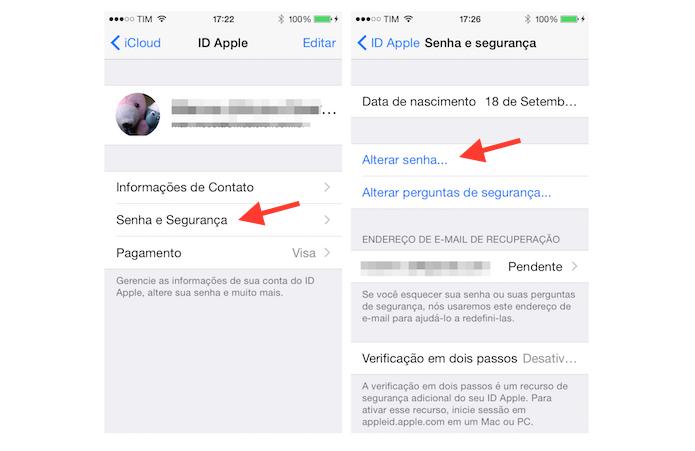 Acessando as configurações de senha do iCloud pelo iPhone (Foto: Reprodução/Marvin Costa)