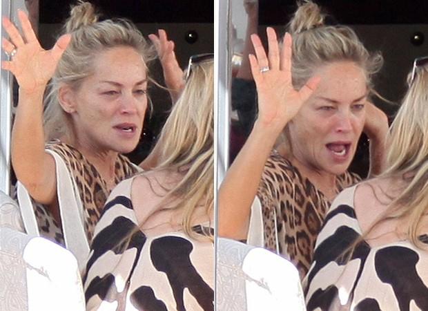 Sharon Stone completamente sem maquiagem no iate de Roberto Cavalli (Foto: Grosby Group)