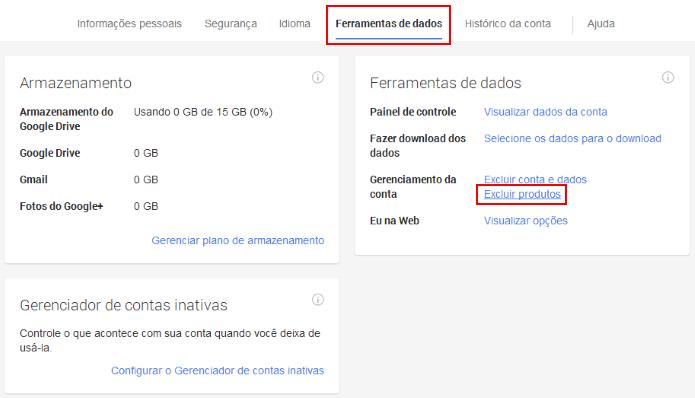 Configurações da conta Google (Foto: Reprodução/Helito Bijora)