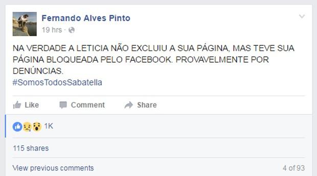 Fernando Alves Pinto, ator e marido de Letícia Sabatella, diz que atriz não excluiu página no Facebook, mas que ela foi bloqueada por denúncias (Foto: Reprodução/Fernando Alves Pinto/Facebook)
