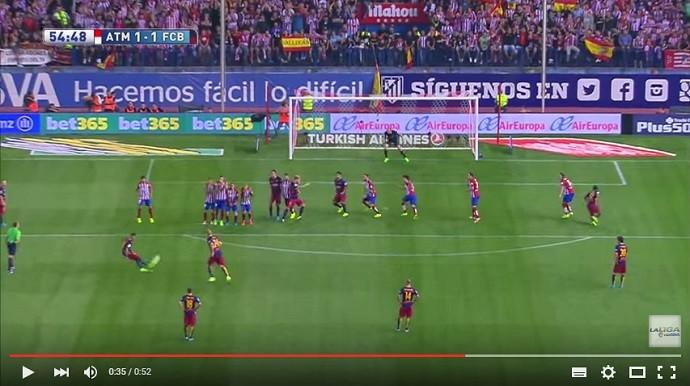 Gol de falta de Neymar Barcelona x Atlético de Madrid