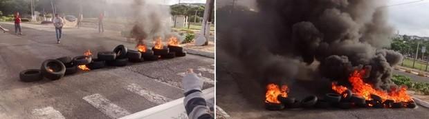 Manifestantes atearam fogo em pneus e obstruíram a entrada do campus da UFRN às margens da BR-101 (Foto: Robson Oliveira/Inter TV Cabugi )