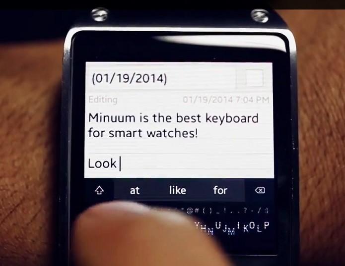 App permite digitar no relógio inteligente (Foto: Divulgação/Minuum) (Foto: App permite digitar no relógio inteligente (Foto: Divulgação/Minuum))