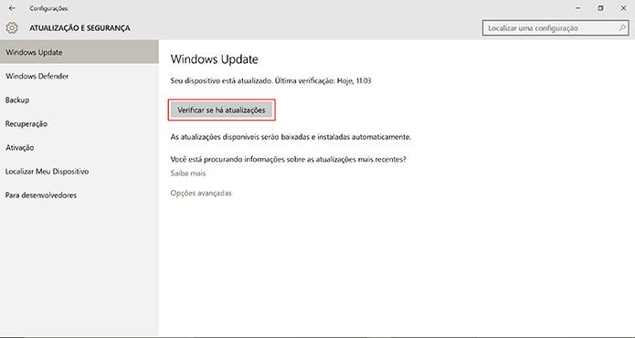Windows Update procurará por atualização ao comando do usuário (Foto: Reprodução/Elson de Souza)