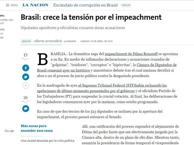 Reportagem do La Nacion sobre o aumento clima de tensão diante da possibilidade de impeachment.  (Foto: Reprodução/LaNacion)
