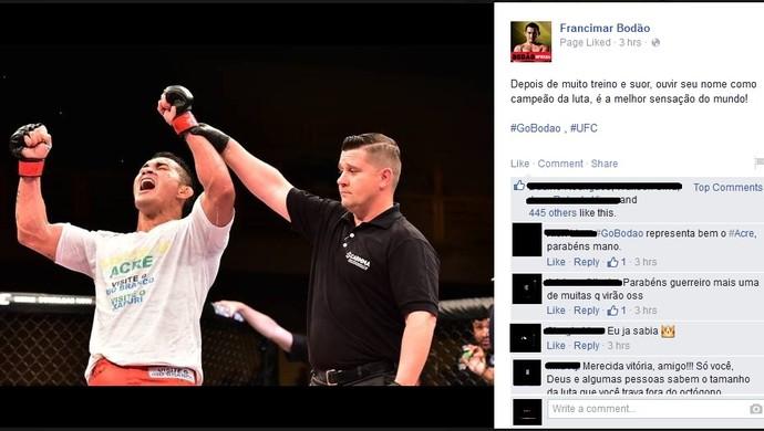Francimar Bodão comemora em rede social vitória em cima de Ryan Jimmo (Foto: Reprodução/Facebook)