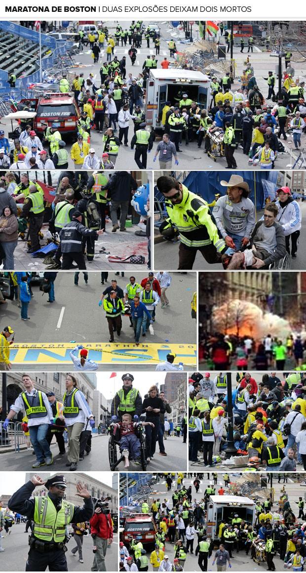 Mosaico - Tragédia Explosões Maratona de Boston (Foto: AP)
