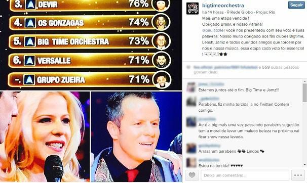Banda agradeceu pelos votos, nas redes sociais, depois da apresentação (Foto: Reprodução/Instagram)