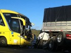 Colisão entre ônibus e carreta deixa feridos (Reprodução/TV Sergipe)