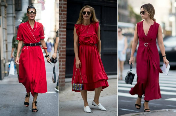 Tendências do streetstyle: vestidos em cores vibrantes (Foto: Imaxtree)